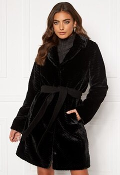 DRY LAKE Zig Zag Faux Fur Coat 030 Black Faux Fur Bubbleroom.dk