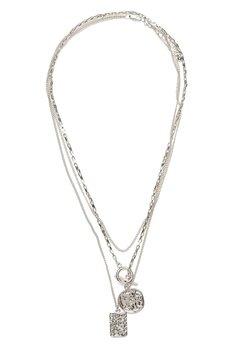 Pieces Elda Combi Necklace Silver Bubbleroom.dk