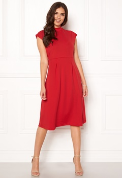 VILA Ellery S/L Dress Racing Red Bubbleroom.dk