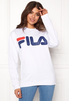 FILA Basic Classic Logo Sweat Bright White Bubbleroom.dk