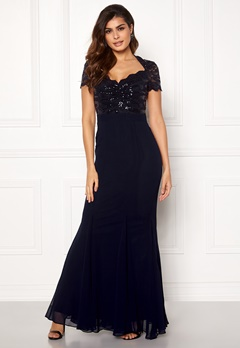 Goddiva Fishtail Maxi Dress Navy Bubbleroom.dk