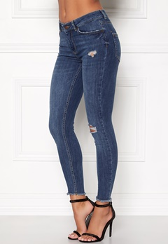 Pieces Five Delly Cropped Jeans Medium Blue Denim Bubbleroom.dk