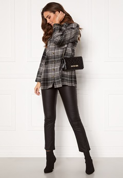 Noisy May Flanny L/S Long Shacket Black, Checks:BW/Gre Bubbleroom.dk