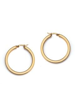 WOS Flat Gold Hoops Earrings Guld Bubbleroom.dk