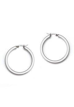 WOS Flat Silver Hoops Earring Silver Bubbleroom.dk
