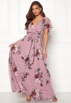 Goddiva Floral Sleeve Maxi Dress Lavender Bubbleroom.dk