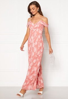 FOREVER NEW Daniella Pleat Jumpsuit Coral Linear Spray Bubbleroom.dk