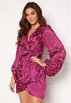 FOREVER NEW Long Sleeve Tie Detail Mini Dress Fuchsia Bubbleroom.dk