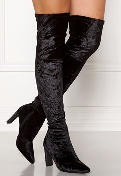 Francesco Milano Velvet Overknee Boots Nero Bubbleroom.dk