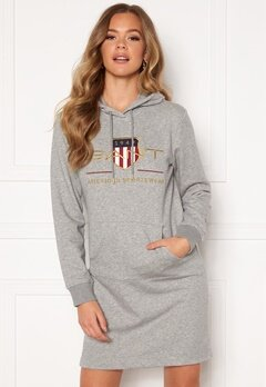 GANT Archive Shield Hoodie Dress 93 Grey Melange Bubbleroom.dk