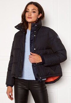 GANT Jacquard Gant Word Down Jacket 433 Evening Blue Bubbleroom.dk
