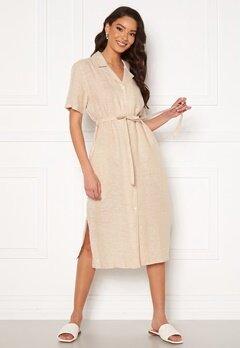 GANT Linen Chambray SS Shirt Dress Dry Sand Bubbleroom.dk