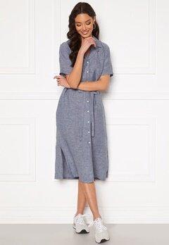 GANT Linen Chambray SS Shirt Dress Persian Blue Bubbleroom.dk