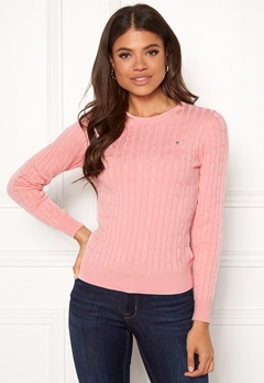 GANT Stretch Cotton Cable Crew 614 Preppy Pink Bubbleroom.dk