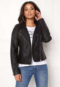 ONLY Gemma Faux Leather Biker Black Bubbleroom.dk