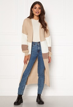 Girl In Mind Cara Panelled Longline Cardigan Creme Bubbleroom.dk