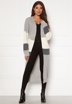 Girl In Mind Cara Panelled Longline Cardigan Grey Bubbleroom.dk