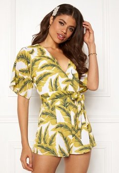 Girl In Mind Cecilla V Neck Playsuit Yellow Palm Bubbleroom.dk