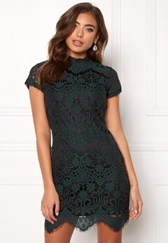 Girl In Mind Emilia Lace Mini Dress Bottle Green Bubbleroom.dk