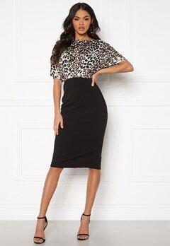 Girl In Mind Fleur Batwing Midi Dress Leopard/Black Bubbleroom.dk