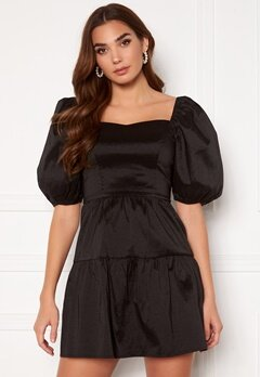 Girl In Mind Freya Puff Sleeves Square Neck Mini Dress Black Bubbleroom.dk