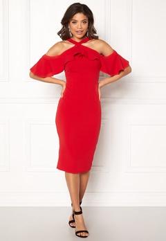 Girl In Mind Halterneck Frill Dress Red Bubbleroom.dk