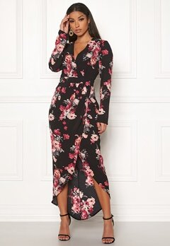 Girl In Mind Indie Wrap Floral Dress Black Bubbleroom.dk