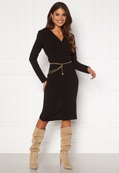 Girl In Mind Josephine Long Sleeve Belted Midi Dress Black Bubbleroom.dk