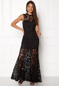 Girl In Mind Lace Maxi Dress Black Bubbleroom.dk