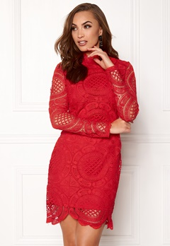 Girl In Mind Lilah Lace Long Sleeve Red Bubbleroom.dk