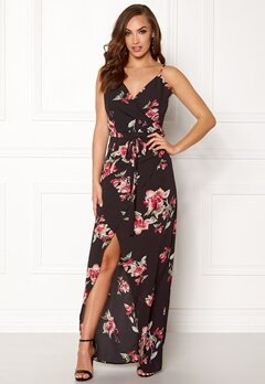 Girl In Mind Mia Floral Wrap Dress Black with Flower Bubbleroom.dk