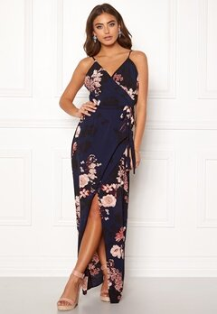 Girl In Mind Mia Wrap Maxi Dress Navy Bubbleroom.dk
