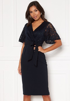 Girl In Mind Reagan Lace Wrap Belted Midi Dress Navy Bubbleroom.dk