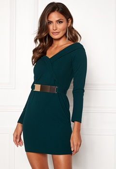 Girl In Mind Sadie Bodycon Mini Dress Bottle Green Bubbleroom.dk