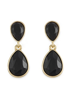 BY JOLIMA Glam Double Drop Earring Black/Gold Bubbleroom.dk