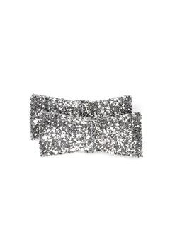 Heelow Glitter Bow Clips Silver Bubbleroom.dk