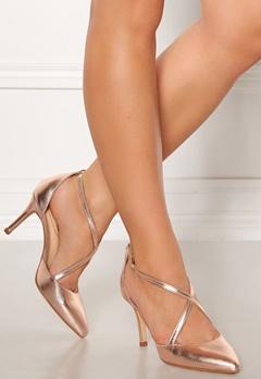 SARGOSSA Glitzy Leather Heels Rose Gold Bubbleroom.dk