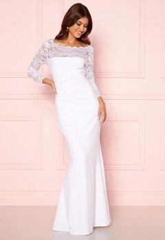 Goddiva 3/4 Lace Trim Maxi Dress White Bubbleroom.dk