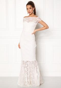 Goddiva Bardot Lace Maxi Dress White Bubbleroom.dk