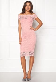 Goddiva Bardot Lace Midi Dress Pink Bubbleroom.dk