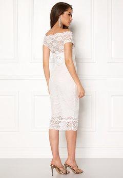 Goddiva Bardot Lace Midi Dress White Bubbleroom.dk