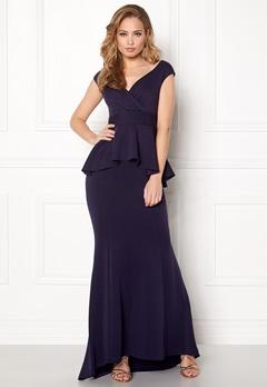 Goddiva Bardot Peplum Maxi Dress Navy Bubbleroom.dk