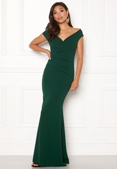 Goddiva Bardot Pleat Maxi Dress Emerald Bubbleroom.dk