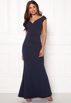Goddiva Bardot Pleat Maxi Dress Royal Blue Bubbleroom.dk