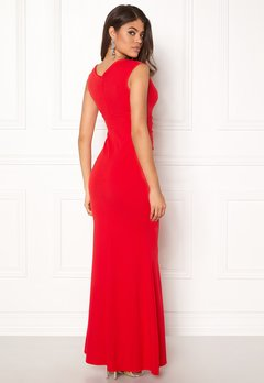 Goddiva Bardot Pleat Maxi Dress Red Bubbleroom.dk