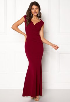 Goddiva Bardot Pleat Maxi Dress Wine Bubbleroom.dk