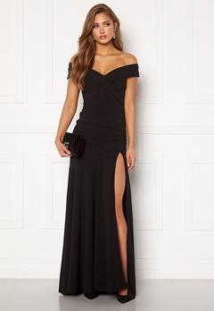 Goddiva Bardot Pleat Maxi Split Dress Black Bubbleroom.dk
