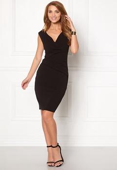 Goddiva Bardot Pleat Midi Dress Black Bubbleroom.dk