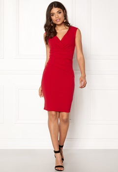 Goddiva Bardot Pleat Midi Dress Red Bubbleroom.dk