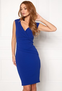 Goddiva Bardot Pleat Midi Dress Royal Blue Bubbleroom.dk
